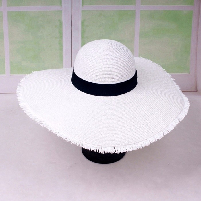 96d1a550 Stylish Summer Casual Floppy Hat For Women Straw Cap Burr Wide Brim Sun Hat  For Beach Vacation Travel Ivory - Worldwide Free Shipping - DX