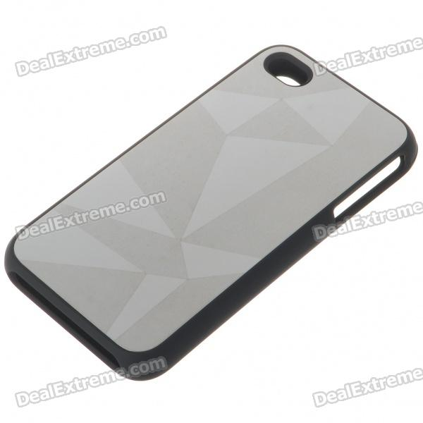 Stylish Protective Aluminum Alloy Plastic Backside Case for Iphone 4 - Diamonds (Silver)