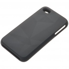 Stylish Protective Aluminum Alloy Plastic Backside Case for iPhone 4 - Diamonds (Black)