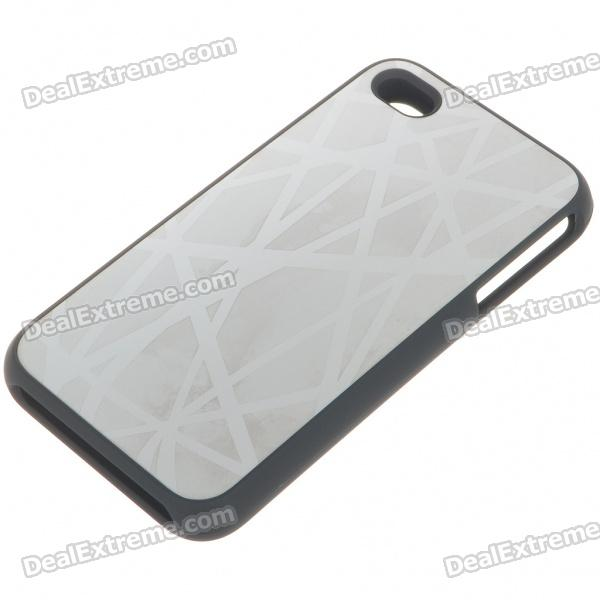 Stylish Protective Aluminum Alloy Plastic Backside Case for Iphone 4 - Nest (Silver)