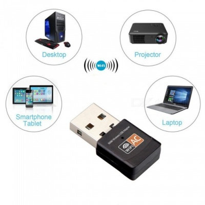 JEDX AC600 Portable 2.4/5.0G Wi-Fi USB Adapter Dongle, Wireless Network Card