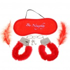 Soft Fluffy Feathers Romantic Love-Cuffs + Eyeshade + Feathers Set - Red