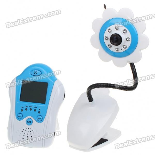"2.4GHz Wireless 8-LED Night Vision Camera with 1.8"" LCD Handheld Baby Monitor - Blue Flower"
