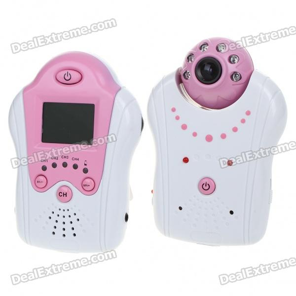 "2.4GHz Wireless 6-LED Night Vision Camera with 1.5"" LCD Handheld Baby Monitor - Pink"