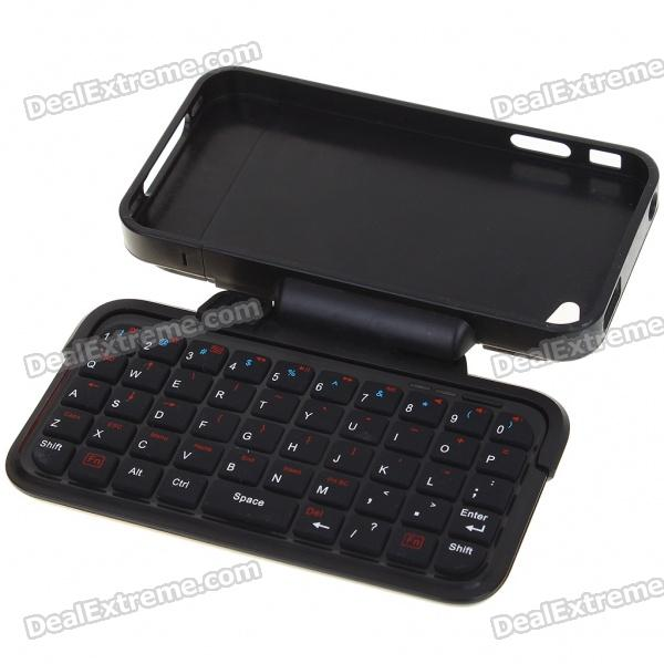 Mini Rechargeable Bluetooth Flip-Out QWERTY Keyboard with Plastic Case for Iphone 4