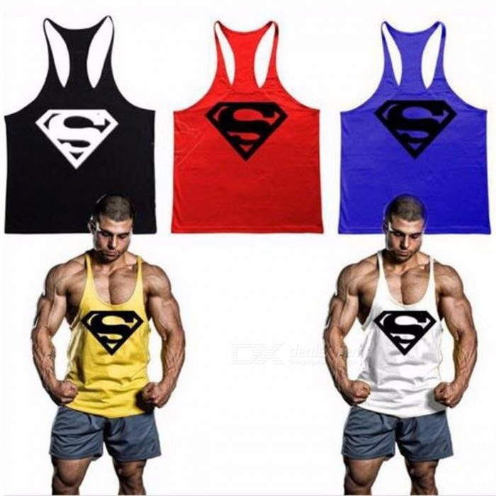3893661d74709 Bodybuilding Stringer Tank Top Superman Gyms Sleeveless T Shirt Men Fitness  Vest Singlet Sportswear Workout Tanktops White M - Worldwide Free Shipping  - DX