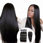 Brazilian Straight Human Hair 4 Bundles With Lace Closure, Free Middle Three Part Hair Weave Bundles With Closure 12 12 14 14 closure10Free Part