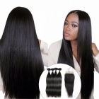 Brazilian Straight Human Hair 4 Bundles With Lace Closure, Free / Middle / Three Part Hair Weave Bundles With Closure 26 26 26 26 closure16/Middle Part