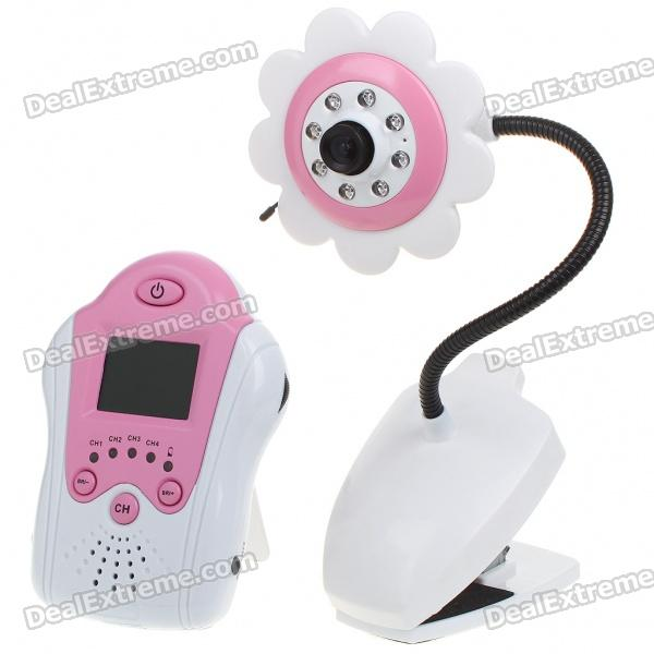 "2.4GHz Wireless 8-LED Night Vision Camera with 1.5"" LCD Handheld Baby Monitor - Pink Flower"
