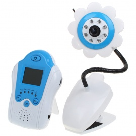 "2.4GHz Wireless 8-LED Night Vision Camera with 1.5"" LCD Handheld Baby Monitor - Blue Flower"