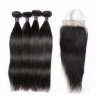 Brazilian Straight Human Hair 4 Bundles With Lace Closure, Free / Middle / Three Part Hair Weave Bundles With Closure 18 20 22 24 closure16/Middle Part
