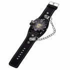 Skull Head Style Leather Band + Metal Dial Quartz Wrist Watch w/ Compass - Black (1*377)