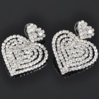 Elegant Heart Shaped Crystal + Alloy Earrings - Silver (Pair)