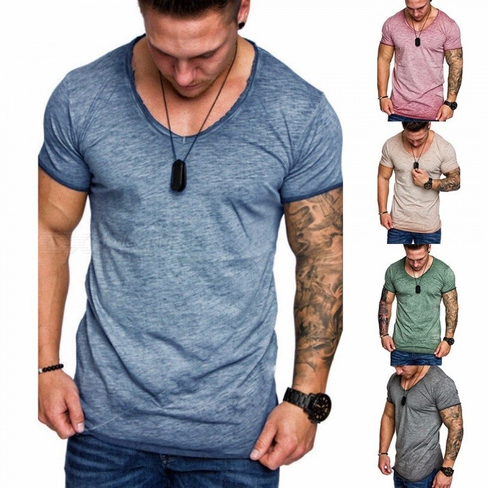 d5a2d480a886 Summer New Splice Slim Men  s Short-sleeved T-shirt