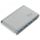 USB 3.0 4-Port Hub with Power Adapter - Silver + White (Super Speed 5Gbps)