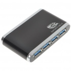 USB 3.0 4-Port Hub with Power Adapter - Black (Super Speed 5Gbps)