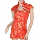 Chinese Cheongsam Qipao Kleid + G-String Sexy Dessous Set - Red