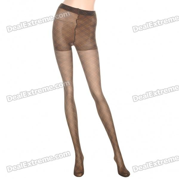 Fashion Plaid Style Tights Leggings Pants Pantyhose - Brown
