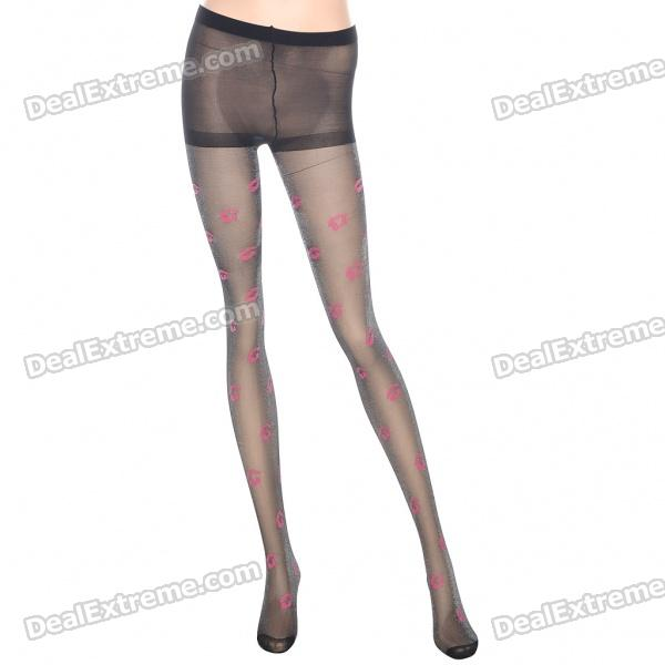 Fashion Charming Red Lips Style Tights Leggings Pants Pantyhose - Black + Pink