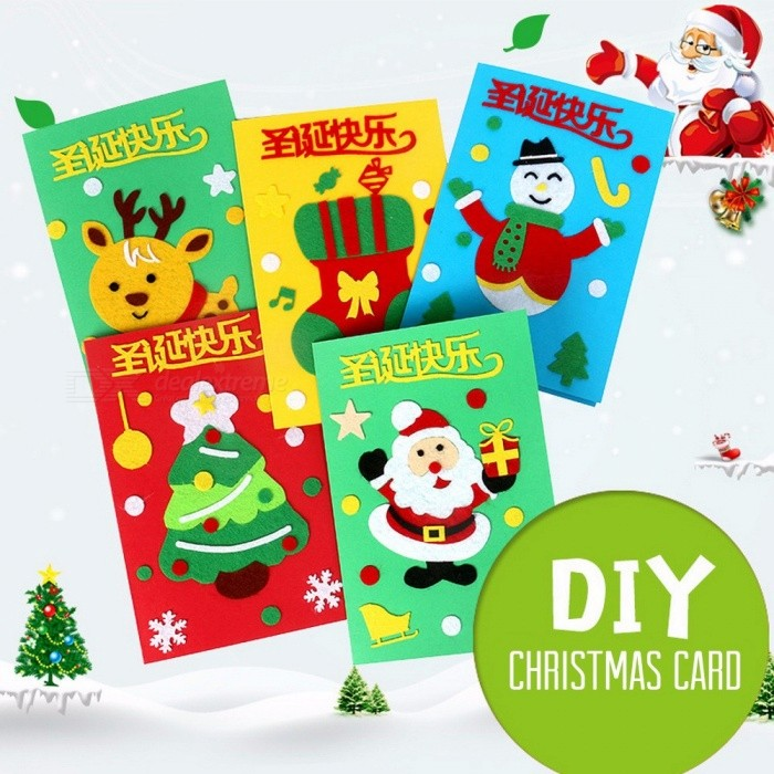 9149f5a3385 Santa Claus Merry Christmas Tree Paper Greeting Postcards Wishes Craft DIY  Kids Festival Greet Cards Gift