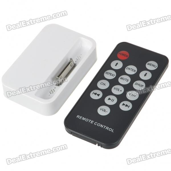 USB Charging Dock Station with 3.5MM Line Out + Remote Controller for iPhone 4 - White