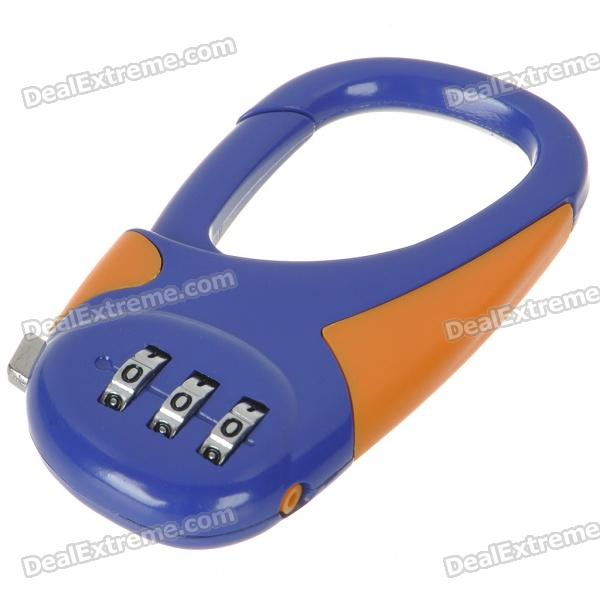 Resettable 3-Digit Compact Carabiner Clip Padlock - Color Assorted