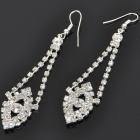 Elegant Crystal + Alloy Earrings - Silver (Pair)