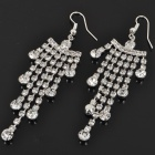Elegant Crystal + Metal Earrings - Silver (Pair)