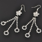 Elegant Flower Crystal + Metal Earrings - Silver (Pair)