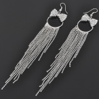 Elegant Imitated Diamond + Metal Earrings - Silver (Pair)