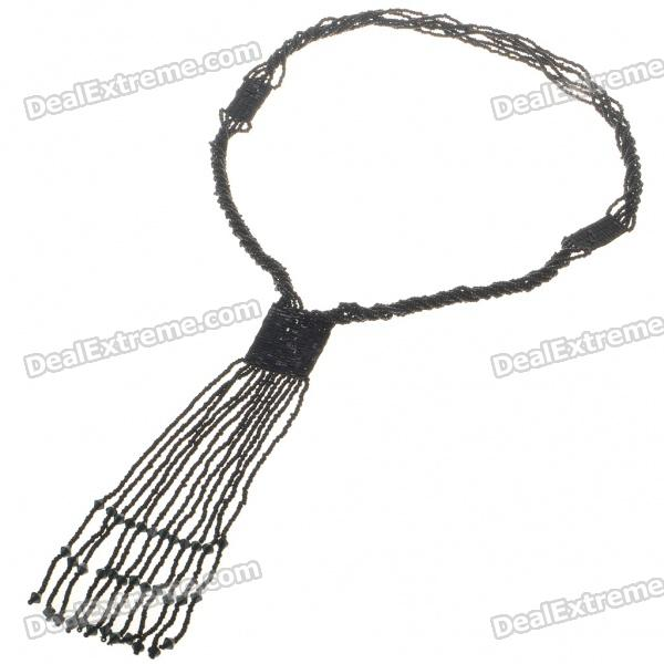 Fashion Colored Glass Necklace - Black