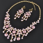Elegant Crystal + Alloy Necklace & Earrings Jewelry Set - Pink + Golden