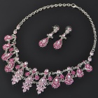 Elegant Imitated Diamond + Alloy Necklace & Earrings Jewelry Set - Random Color
