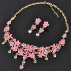 Elegant Crystal + Alloy Necklace & Earrings Jewelry Set - Multi Colored
