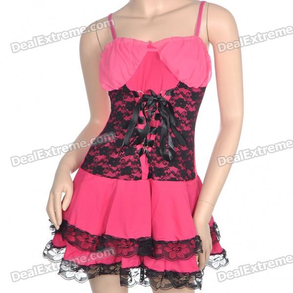 Sexy Fashion Cosplay Princess Tunic Dress Babydoll Sexy Lingerie - Pink + Black