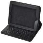 Bluetooth V2.0 2.4GHz Wireless Keyboard with Protective PU Leather Case for Apple iPad - Black