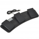 USB Triple Action Foot Switch Keyboard Control Foot Pedal - Black