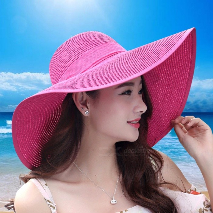 064db46c257 Summer Big Wide Brim Straw Hat Letter Visor Beach Hat Foldable Sun Hats For  Women Block UV Beige - Worldwide Free Shipping - DX