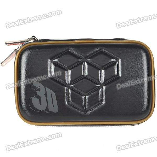 Hard Protective Carrying Pouch with Rubber Strap & Cleaning Cloth for Nintendo 3DS - Black