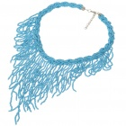 Fashion Colored Glass Necklace - Blue