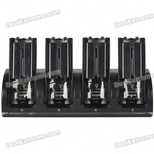 Four Port USB Charging Station with 4 x 1800mAh Rechargeable Batteries for Wii Remote - Black