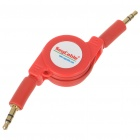3.5mm Stereo Audio Male to Male Retractable Connection Cable - Red