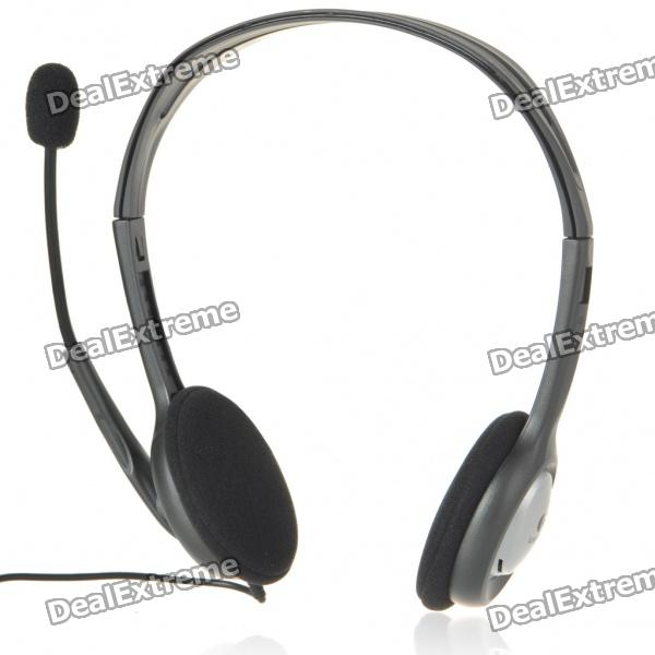 Genuine Logitech H110 Stereo Headset with Microphone - Black (3.5mm Jack/240CM-Cable)