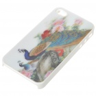 Protective PC Back Case with 3D Graphic for iPhone 4 - Peacock (Multi-Color)