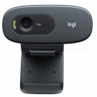Genuine Logitech C270 HD 720P USB 2.0 Webcam with Built-in Microphone (Black)