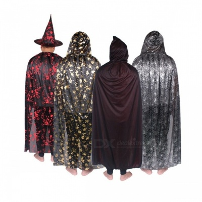 Unisex Scary Cosplay Party Wear Viscose Costumes Halloween Hooded Cloak Long Adult Costumes Black