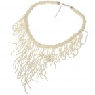Fashion Elegant Glass Beads Necklace - White (45~51CM Length)