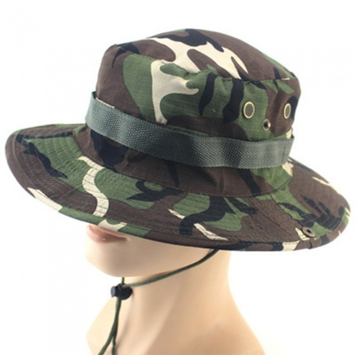 691a8b868 Men Fishing Caps Hiking Camouflage Jungle Forest Hat Round Edge Camping Cap  Sunshade Breathable Unisex Hats Army Green