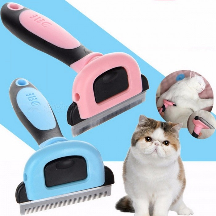 Detachable Pet Hair Removal Comb Dog Short Medium Hair Brush PP TPR Handle Beauty Brush Comb Cat Groom Tool Pink/S