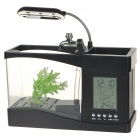 USB Powered Desktop Fish Tank Aquarium with 6-LED White Light &amp; LCD Time Display (1.5L) 